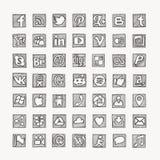 Icone sociali disegnate a mano della rete di media Fotografia Stock