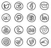 Icone sociali disegnate a mano di media Immagine Stock Libera da Diritti