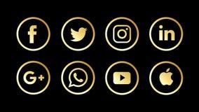 Icone sociali dorate, di lusso e metalliche ed altre di media illustrazione di stock