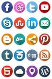 Icone sociali piane 1 Fotografia Stock