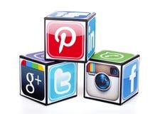 Icone sociali popolari di media Fotografia Stock Libera da Diritti