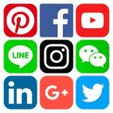 Icone sociali popolari di media Fotografia Stock