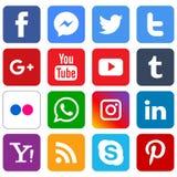Icone sociali popolari di media messe illustrazione vettoriale