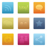 Icone sociali quadrate di media | 01 Fotografia Stock