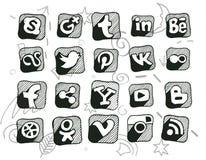 Icone sociali scarabocchiate disegnate a mano di media