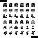 Icone solide dell'interfaccia e del browser messe illustrazione vettoriale