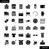 Icone solide di commercio elettronico e di acquisto messe illustrazione vettoriale