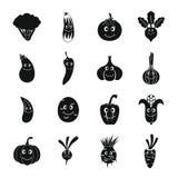 Icone sorridenti messe, stile semplice delle verdure Immagini Stock Libere da Diritti