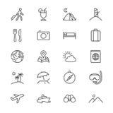 Icone sottili di viaggio Immagini Stock
