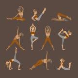 Icone stabilite colorate di yoga isolate su bianco illustrazione vettoriale