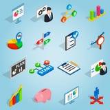 Icone stabilite del business plan, stile isometrico 3d Immagini Stock Libere da Diritti