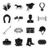 Icone stabilite del cavallo e dell'ippodromo nello stile nero La grande raccolta dell'ippodromo ed il cavallo vector l'illustrazi Immagini Stock