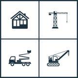 Icone stabilite del cinema dell'illustrazione di vettore Elementi della casa della costruzione, della gru di costruzione, della g illustrazione vettoriale