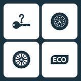 Icone stabilite del cruscotto dell'automobile dell'illustrazione di vettore Cruscotto dell'automobile degli elementi, icona di Ec illustrazione vettoriale