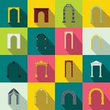 Icone stabilite dell'arco, stile piano Fotografie Stock Libere da Diritti