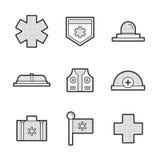 Icone stabilite dell'attrezzatura medica dell'ambulanza Immagine Stock Libera da Diritti