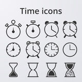 Icone stabilite dell'orologio di riserva di vettore Fotografia Stock Libera da Diritti