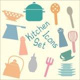 Icone stabilite della cucina Fotografie Stock Libere da Diritti