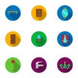 Icone stabilite della mobilia nello stile piano Grande raccolta dell'illustrazione delle azione di simbolo di vettore della mobil Fotografia Stock Libera da Diritti