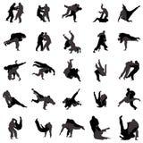 Icone stabilite della siluetta dei lottatori di judo, stile semplice Fotografia Stock Libera da Diritti