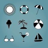 Icone stabilite di estate isolate su fondo Pittogramma piano moderno, Fotografie Stock Libere da Diritti