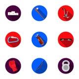 Icone stabilite di forma fisica e di sport nello stile piano Grande raccolta del simbolo di forma fisica e di sport Fotografia Stock Libera da Diritti
