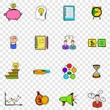Icone stabilite di pianificazione aziendale illustrazione di stock