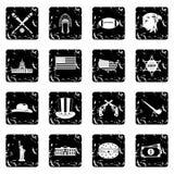 Icone stabilite di U.S.A., stile di lerciume illustrazione vettoriale
