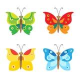Icone stabilite di vettore della farfalla Insieme della farfalla semplice di volo Farfalla di vettore Immagini Stock