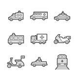 Icone stabilite mediche dell'automobile e del treno dell'ambulanza Immagini Stock Libere da Diritti