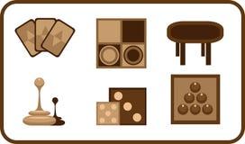 Icone stilizzate dei giochi da tavolo Fotografia Stock