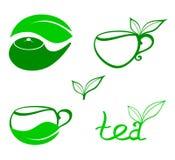 Icone stilizzate del tè Fotografia Stock