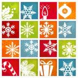 Icone stilizzate di vacanza invernale Fotografie Stock