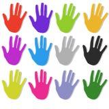 Icone strutturate Colourful della mano illustrazione vettoriale