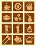 Icone strutturate del caffè Fotografia Stock Libera da Diritti