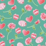 Icone strutturate rosa di vettore circa amorousness e romance Retro fondo dell'insieme del modello senza cuciture degli autoadesi Fotografia Stock