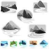 Icone stupefacenti delle colline e della montagna Fotografia Stock