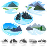 Icone stupefacenti delle colline e della montagna Fotografie Stock Libere da Diritti