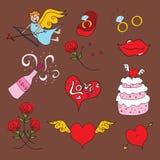 Icone stupide del biglietto di S. Valentino di Doodle del Cupid Fotografia Stock Libera da Diritti