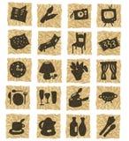 Icone su documento sgualcito illustrazione vettoriale