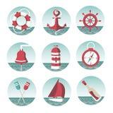 Icone sul tema marino Fotografie Stock