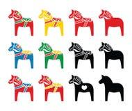 Icone svedesi di vettore del cavallo di dala messe Fotografie Stock Libere da Diritti