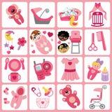 Icone sveglie dei fumetti per la neonata Insieme di cura del bambino Immagine Stock