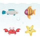 Icone sveglie dell'illustrazione di vettore dei pesci della barriera corallina messe Vector il pesce grigio isolato del fumetto,  Fotografia Stock Libera da Diritti