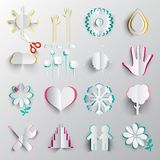 Icone tagliate di carta di origami di vettore di simboli immagini stock