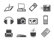 Icone tecniche dell'attrezzatura di Ciao-tecnologia della siluetta Fotografie Stock
