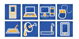 Icone tecnologia/di comunicazione immagine stock