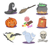 Icone tirate di Halloween Fotografia Stock Libera da Diritti