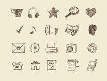 Icone tirate di web Fotografie Stock