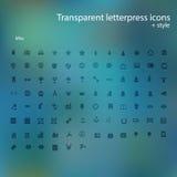 Icone trasparenti dello scritto tipografico. Immagini Stock